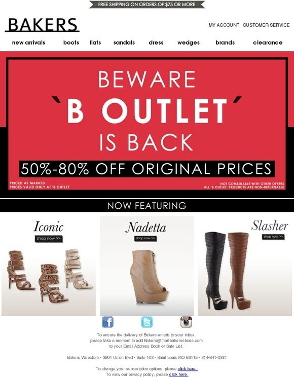 Bakers Shoes: B OUTLET IS BACK! 50%-80