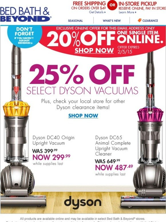 bed bath and beyond 25 off select dyson plus your 20 online offer is waiting milled. Black Bedroom Furniture Sets. Home Design Ideas