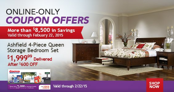 Costo additional savings on flowers michelin tires bedroom sets and more milled for Ashfield 6 piece queen storage bedroom set