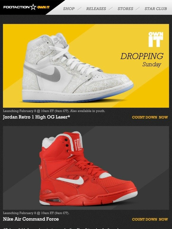 9c40bee2e748 Footaction   Own IT 2.8 - Jordan Retro 1 Hi Laser and Nike Air Command  Force at 10am ET (9am CT)!