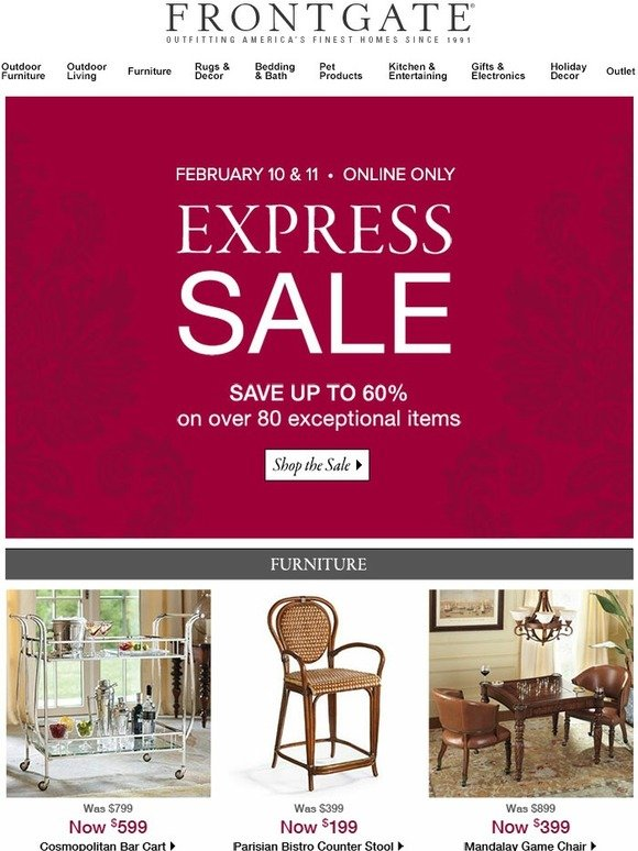 Frontgate: 2 days only: Save up to 60% during our Express ...