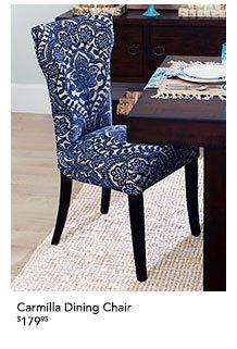 Carmilla Dining Chair Blue Damask