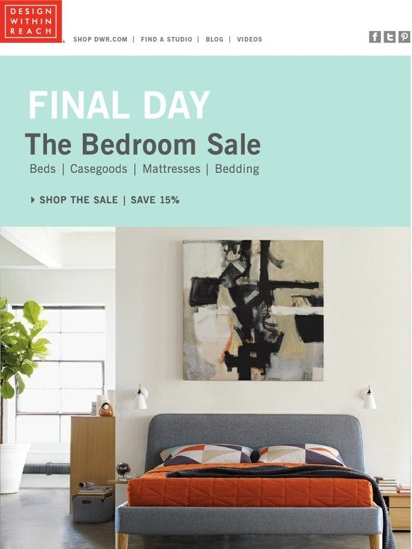 design within reach: bedroom sale ends at bedtime | milled