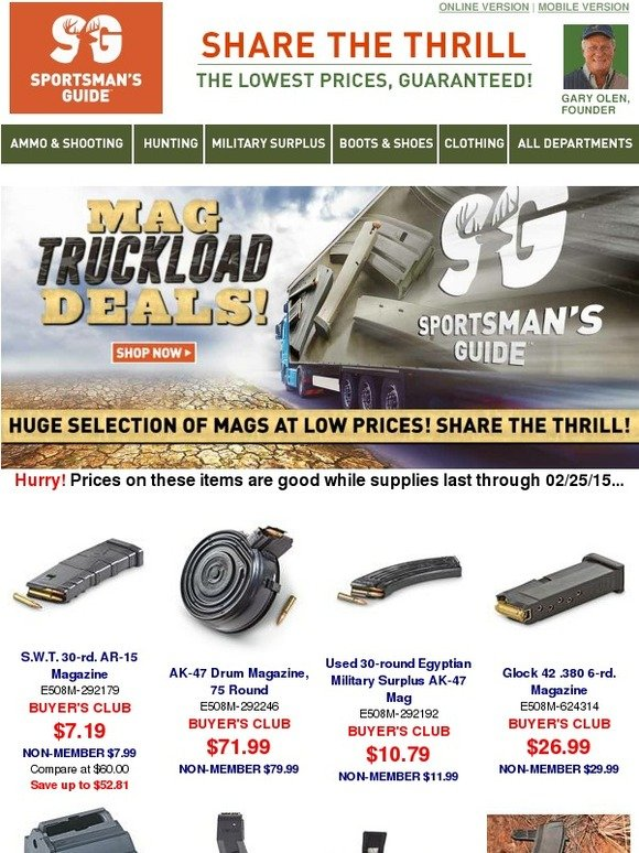 The Sportsman's Guide: Clips & Magazines - Truckload of