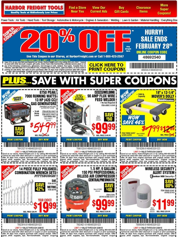 Harbor Freight: Save up to 66% with your February Super ...