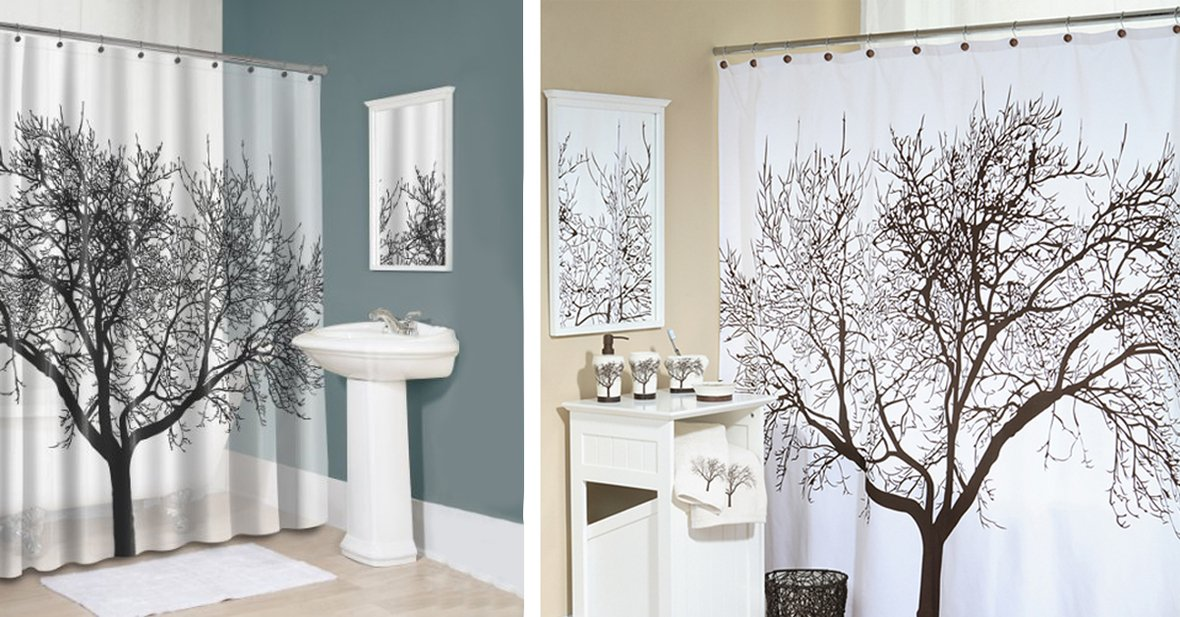 1200x627 shower curtain tree decor - Mobstub: Waterproof Bathroom Fabric Shower Curtain - Tree Design