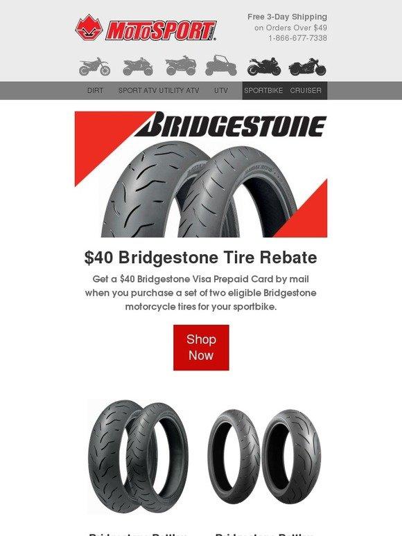 Motosport New Tire Rebates 40 From Bridgestone 50 From Dunlop