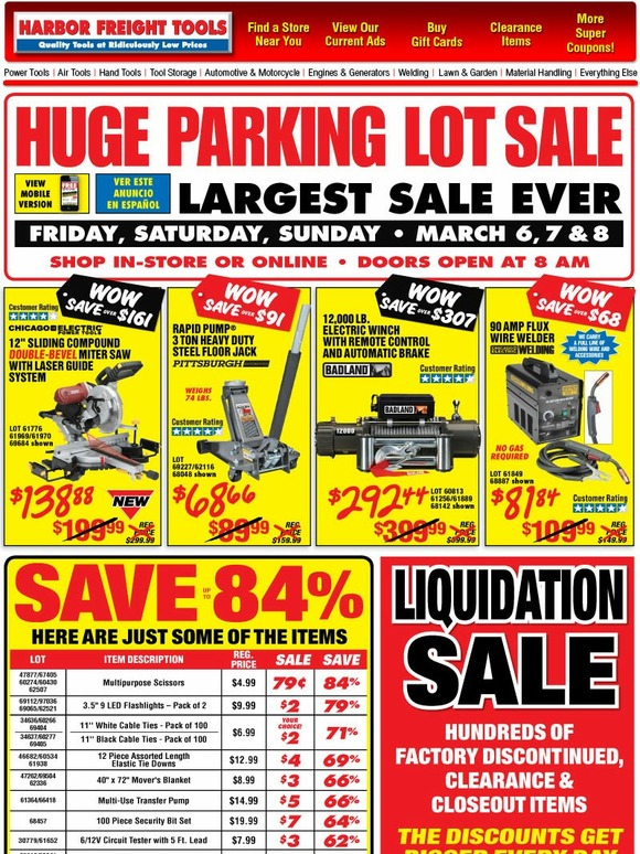 harbor freight  largest sale ever