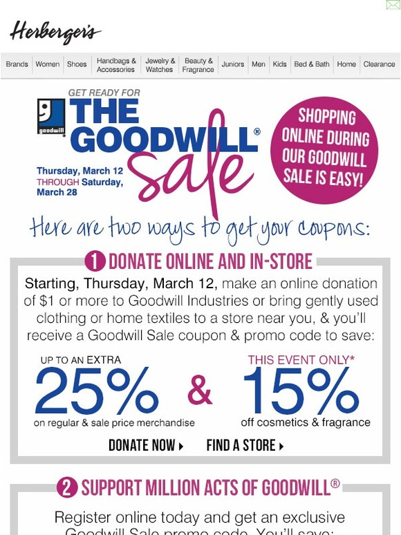 Mar 08, · The Goodwill® Sale March 10 thru 24, layoffider.ml?store=Herbergers Donate gently used .
