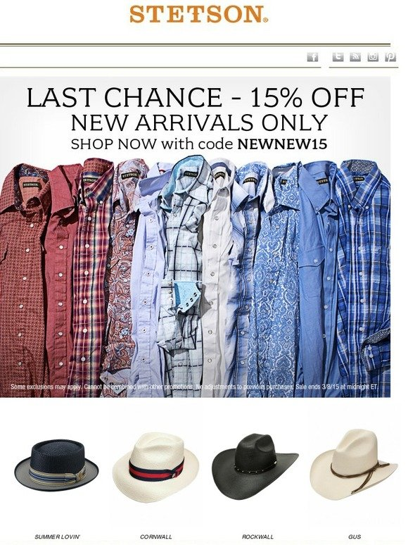 c177050a5e205 STETSON  Last Chance - 15% Off New Arrivals