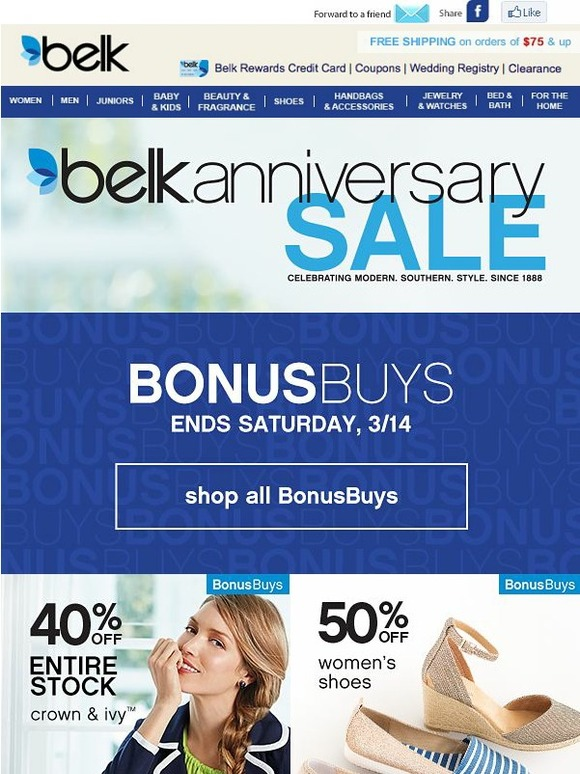 Shopping Tips for Belk: 1. Reach 1, points in the Belk rewards program to earn $10 in store credit. There are no restrictions for points on any particular items or brands. 2. Rewards members are promoted to Premier Status when they spend a minimum of $ in one calendar year.
