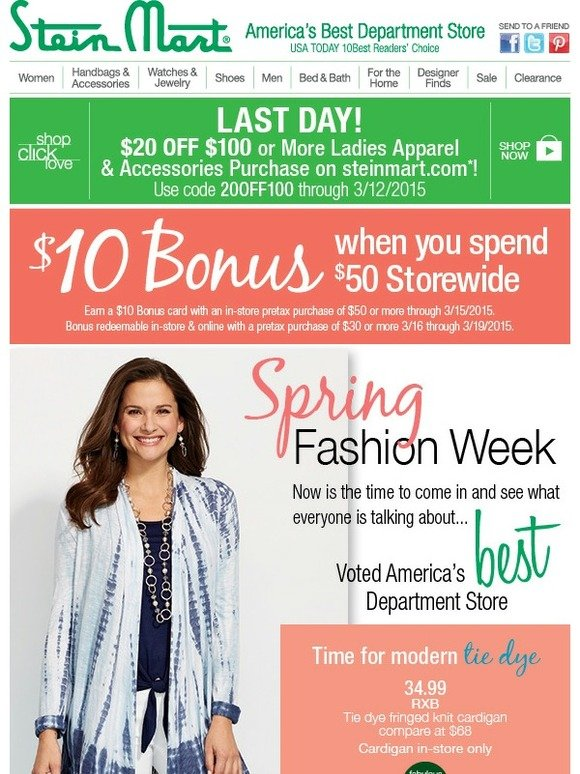 b8267e0e08b Stein Mart: Your fresh spring style is waiting at Stein Mart! | Milled