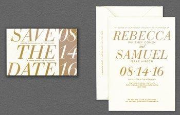 vera wang papers gold invitation save the date - Vera Wang Wedding Invitations