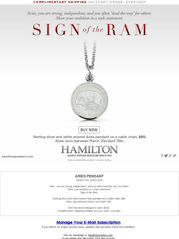 Hamilton: Celebrate the Strength of Aries in Style with our