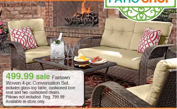 Fairlawn Woven 4-pc. Conversation Set. Reg. 799.99 Sale 499.99 - Shopko: Deck Out Your Deck! All Patio Furniture On Sale. Milled