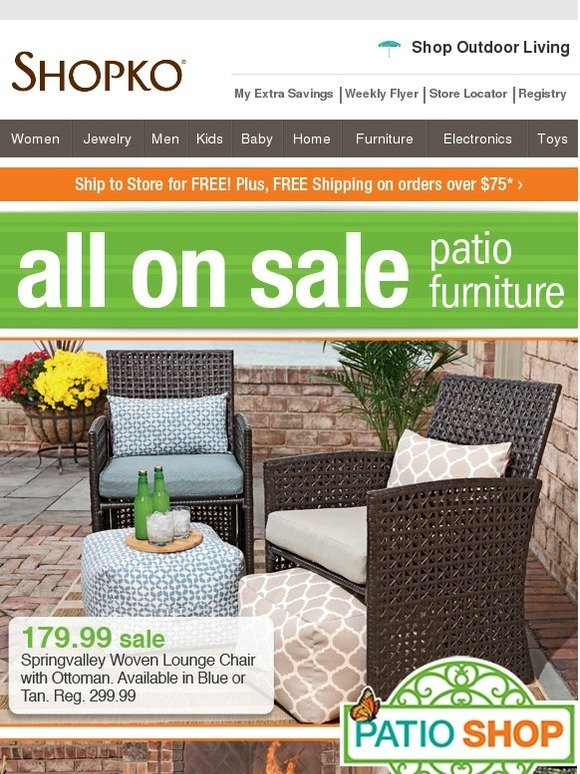 - Shopko: Deck Out Your Deck! All Patio Furniture On Sale. Milled