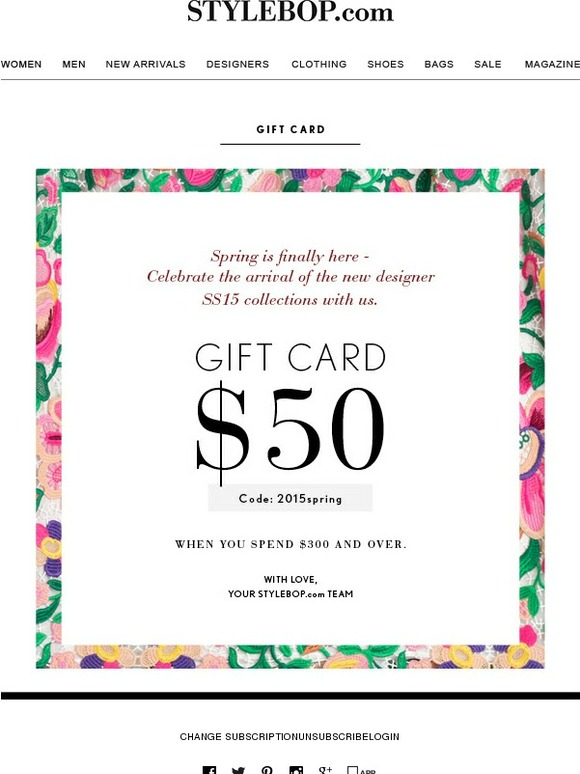 STYLEBOP: Hurry! Your USD 50,00 Gift Voucher is about to expire ...