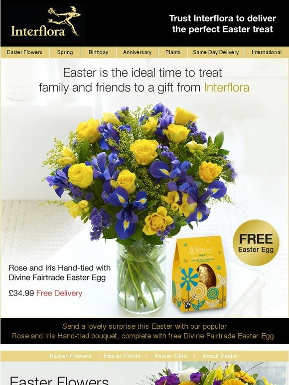 Interflora free easter egg free delivery with our rose and iris interflora free easter egg free delivery with our rose and iris hand tied bouquet milled negle Image collections
