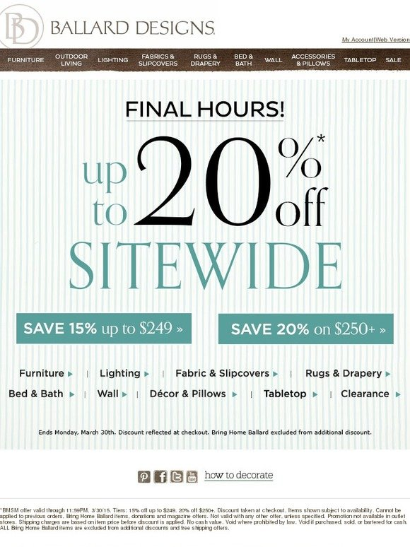 Ballard Designs: Hurry, You Still Have Time to Save up to 20% Sitewide | Milled