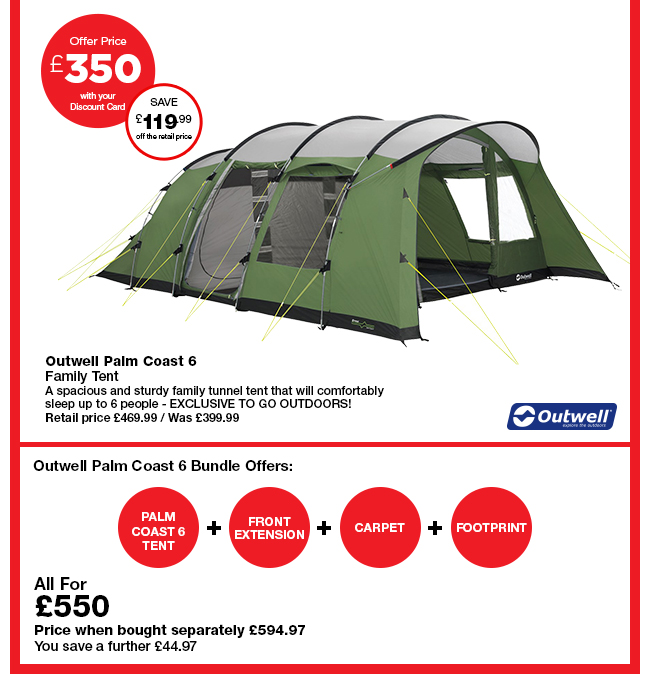 Outwell Palm Coast 6  sc 1 st  Milled & Go Outdoors: Easter tent offer u2013 up to 40% off selected tents ...