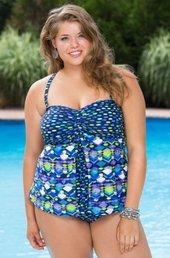 546fd70759b8b Plus Size Swimwear Always For Me Chic Prints La Cruz Inset Tankini