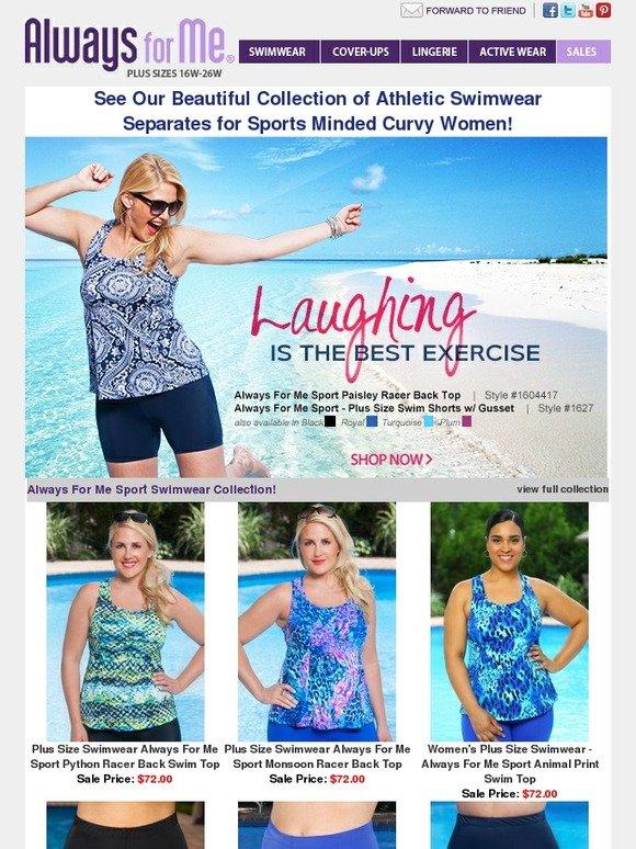 3b21bd05080 Always for Me  Sports-Minded Swimwear for Curvy Women