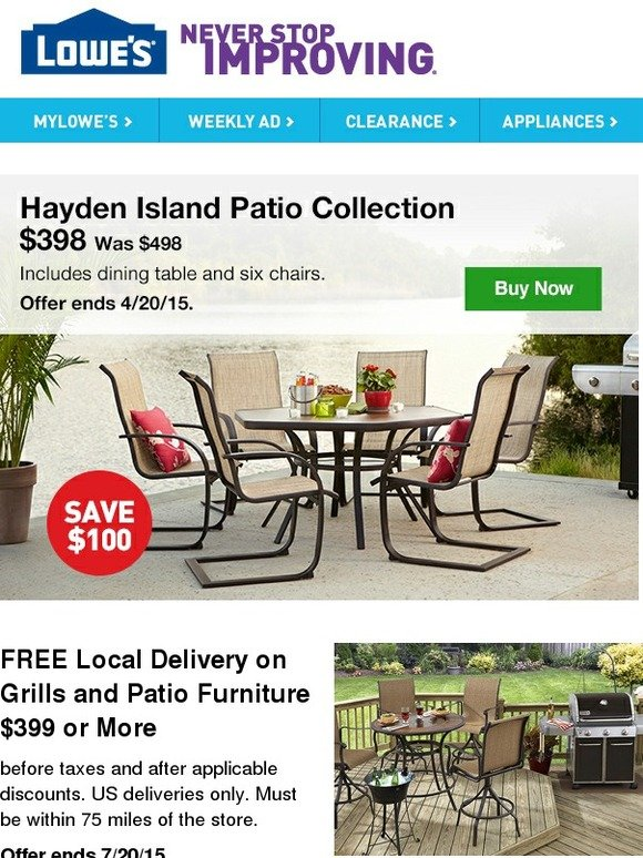 Lowes Take the Savings Outside $100 off the Hayden Island Patio Collection