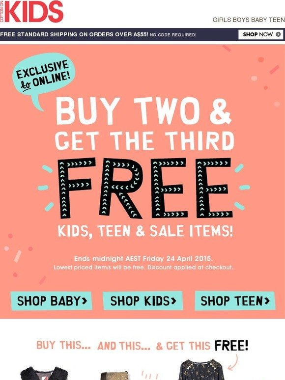 cotton on kids buy two items get the third free exclusive to online milled. Black Bedroom Furniture Sets. Home Design Ideas