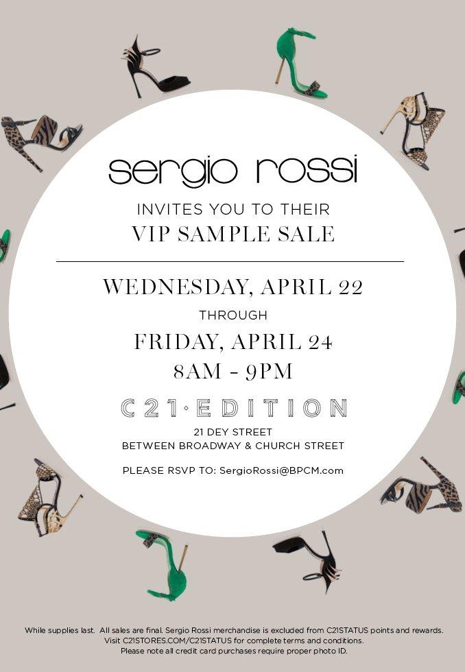 Century21: EXCLUSIVE INVITE - Sergio Rossi Sample Sale | Milled