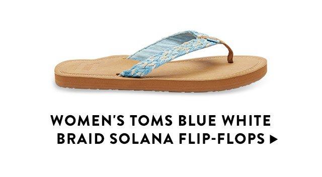 fd04a5d0618 ... Burlap Multi-trim Soalna Flip-Flops Men s Black Carilo Flip-Flops  Women s TOMS Blue White Braid Solana Flip-Flops ...