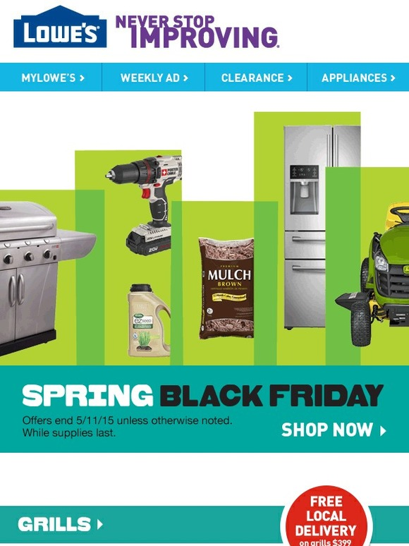Lowes Sizzling Savings Free Shipping On Grills Spring