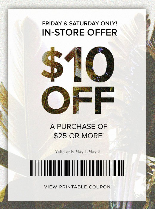 photograph relating to Pacsun Printable Coupon identified as PacSun: 2 times basically! $10 off your obtain Milled
