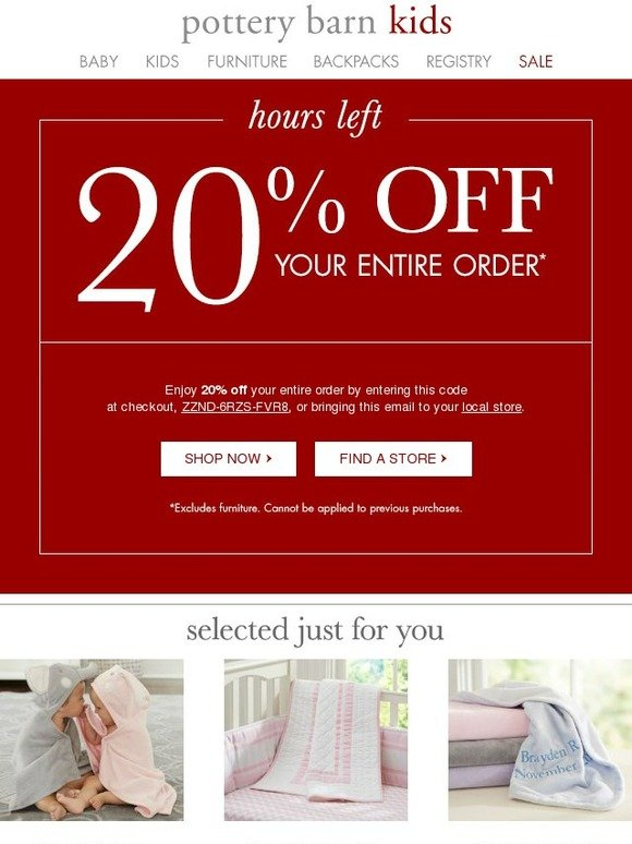 Why Register at Pottery Barn Kids. Pottery Barn Kids is a great place to register for the birth of a child. Find all the top brands at Pottery Barn Kids and take advantage of all the Pottery Barn Kids coupons to save on all purchases.