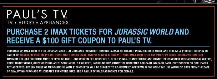 Jordan 39 S Furniture Get Tickets For Jurassic World In Imax 3d Enjoy This Special Offer Milled