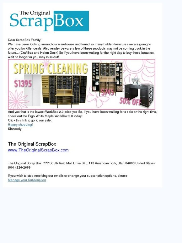 the original scrapbox spring cleaning sale milled. Black Bedroom Furniture Sets. Home Design Ideas