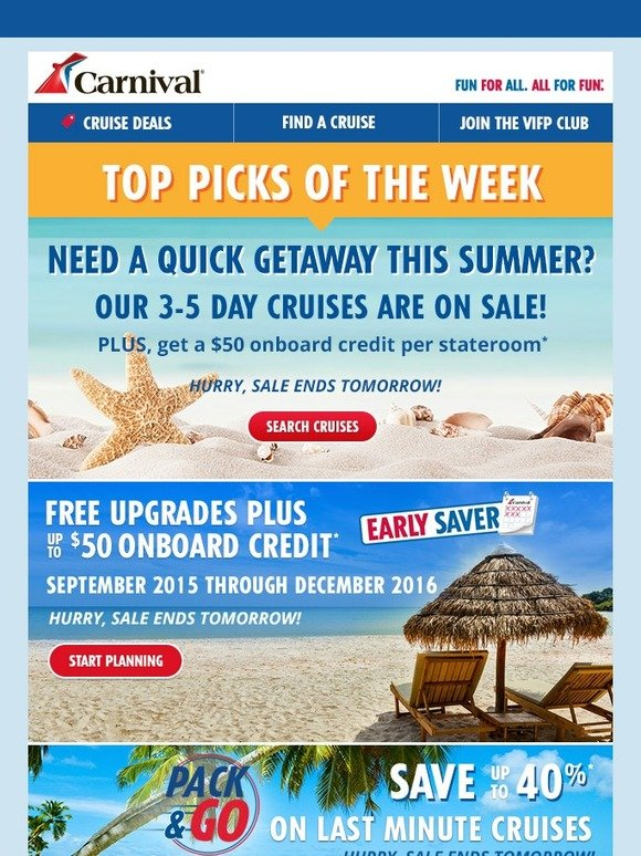Carnival Cruises Carnival S Top Deals Flyer Milled