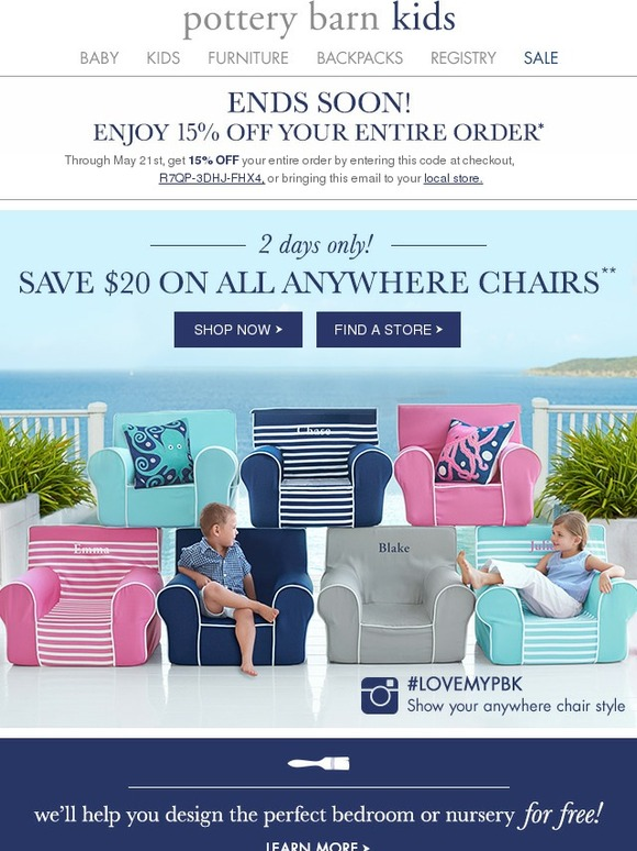 Pottery Barn Kids is known for its sophisticated and yet playful style that will win over children and adults alike. You can even shop for cribs for your little ones. Let the Pottery Barn Kids Design Studio help you create the perfect place for your child to grow up in.