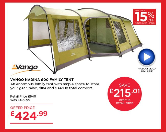 Vango Nadina 600 Family Tent  sc 1 st  Milled & Go Outdoors: 15% off tents u0026 camping u2013 online now in store ...
