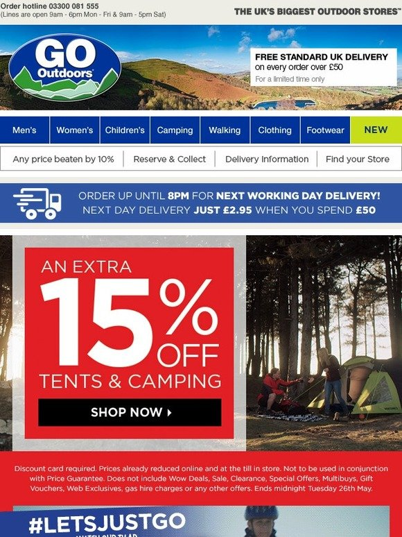 go outdoors 15 off tents camping online now in. Black Bedroom Furniture Sets. Home Design Ideas