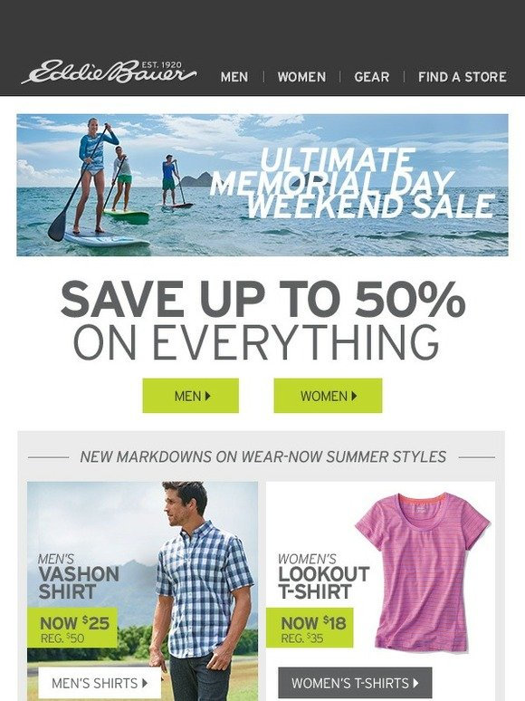 Eddie bauer your 3 day weekend just got even better milled for 6 dollar shirts coupon code free shipping