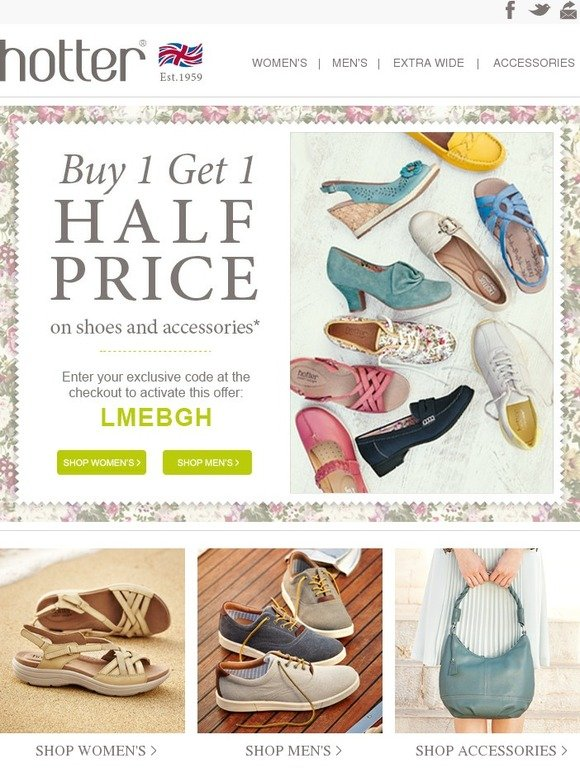 BUY ONE GET ONE 50% OFF SHOES: Select styles and colors only. Buy one item at regular retail price, and get a second like item of equal or lesser value .