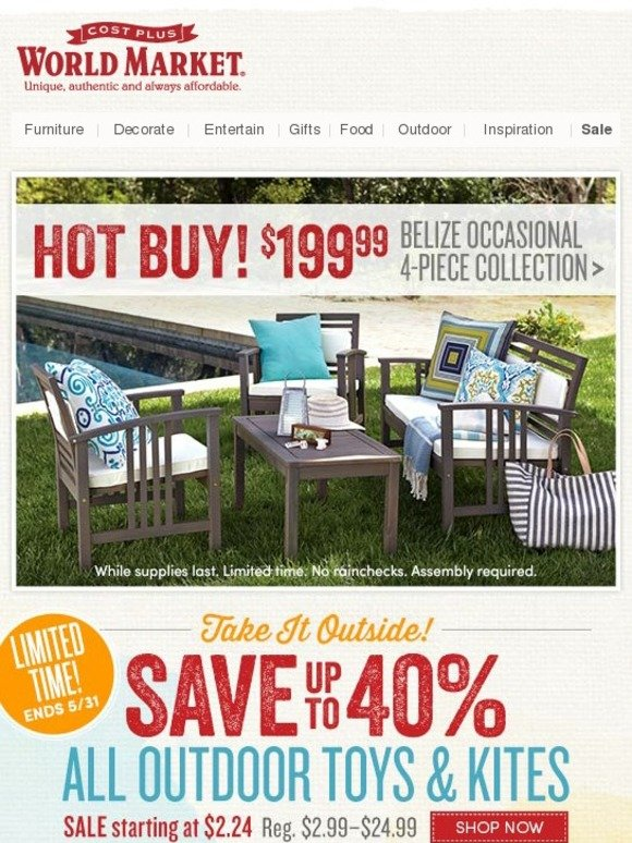 Cost Plus World Market 4 Piece Outdoor Set Only Milled