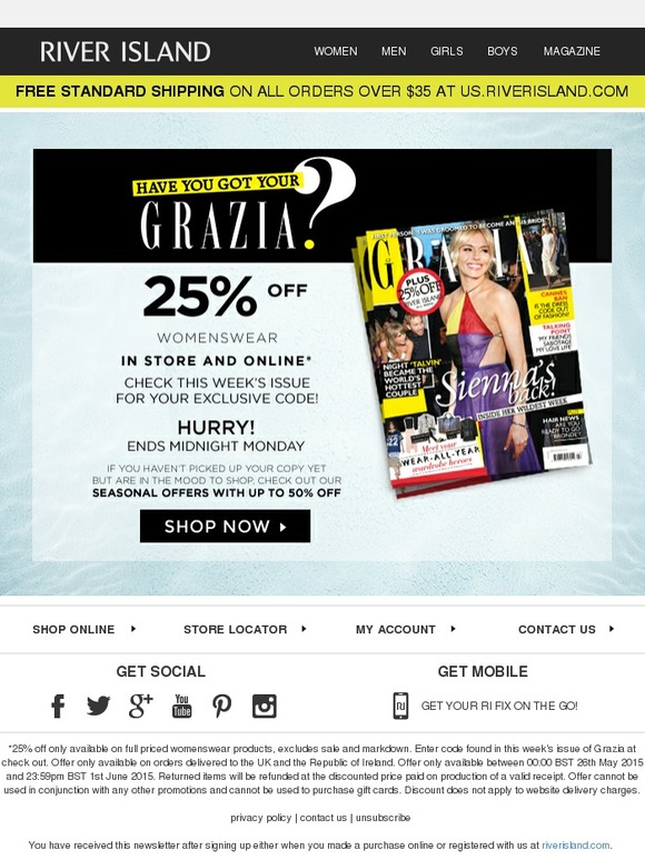 River Island Enjoy 25 Off With Grazia Milled