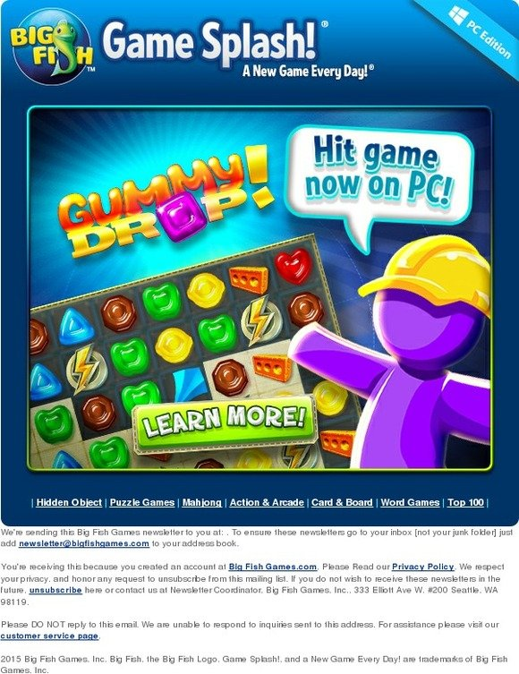 Big fish games gummy drop now available on pc milled for Big fish games com