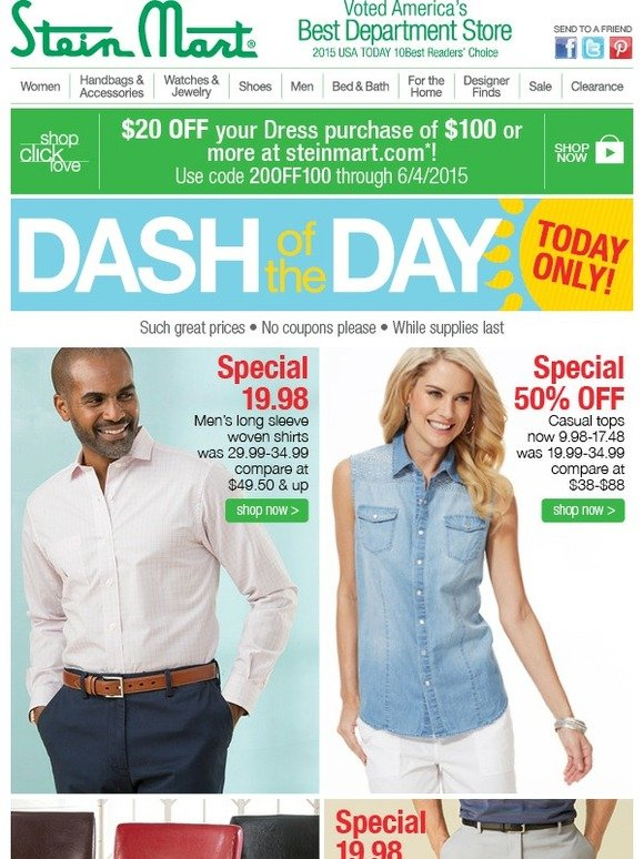 7c3e61e0e07 Stein Mart: 1 Day Only: Dash of the Day! | Milled