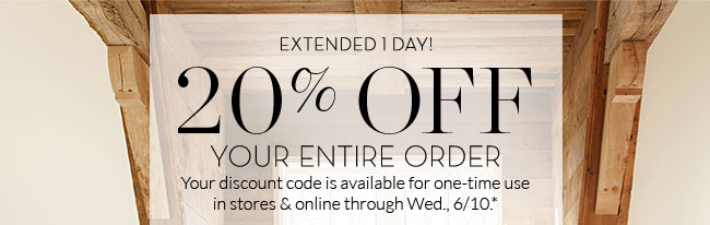 pottery barn whew! your 20% off promo code lasts one more day milled20% off