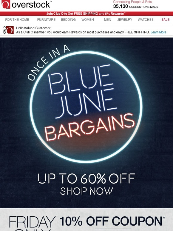 Overstock.com: Up To 60% Off U2013 Once In A Blue June Bargains | Milled