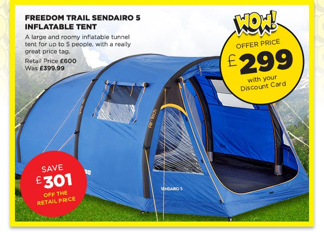 go outdoors wow freedom trail sendairo 5 tent only 299. Black Bedroom Furniture Sets. Home Design Ideas
