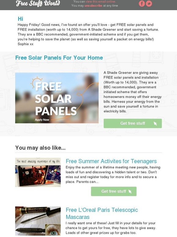 Free Stuff World: Free Solar Panels For Your Home   Milled