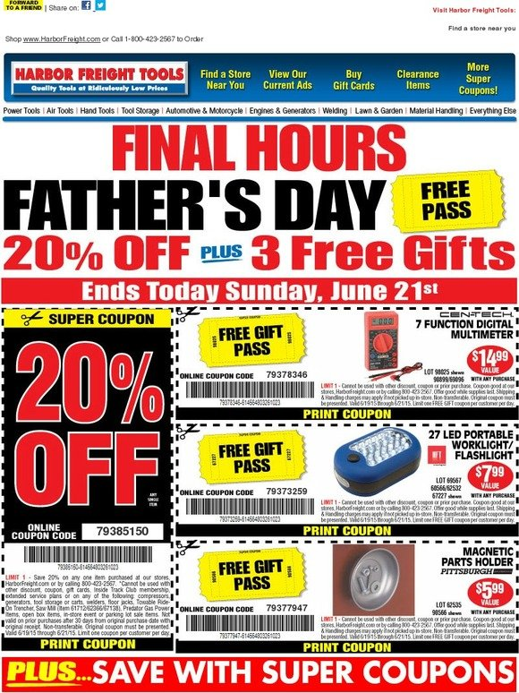Harbor Freight: Happy Father's Day   Free Pass + 20% off